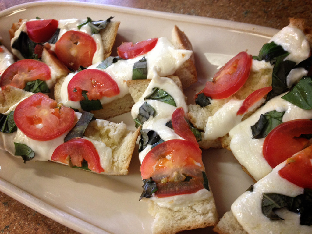 Caprese Garlic Bread, plated and ready to serve!