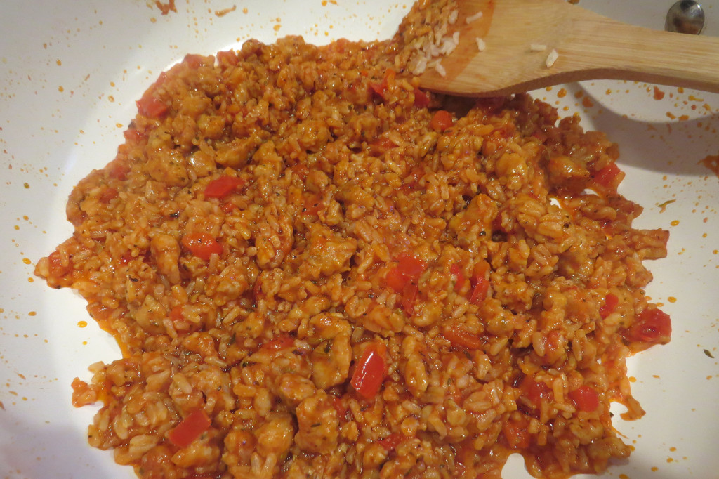 My sausage, peppers, rice and tomato sauce filling.